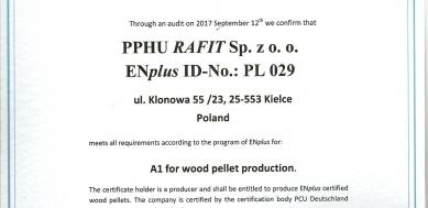Certyfikat ENplus A1 PL 029